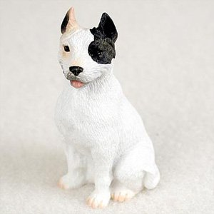 (Pit Bull Terrier White Dog Figurine, Height Approx. 2 Inches)