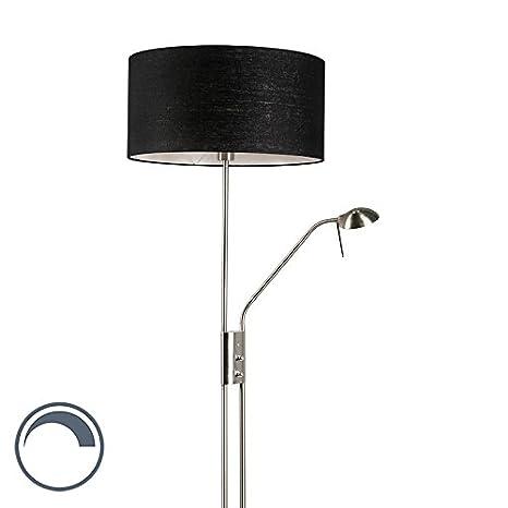 QAZQA Moderno Lámpara de pie LUXOR acero 50cm negra Metálica ...