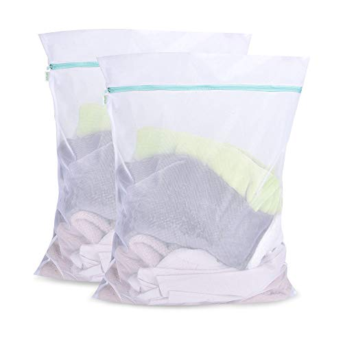 OTraki Mesh Laundry Bag for Delicates 24 x 32 inch Zippered Large Wash Bags [2 Pack] Travel Washing Net for Sweater Yarn Dress Garment Blouse Dirty Clothes Washer Protector College Dorm Organizer