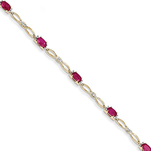 ICE CARATS 14k Yellow Gold Diamond Composite Red Ruby Bracelet 7 Inch Gemstone Fine Jewelry Ideal Mothers Day Gifts For Mom Women Gift Set From Heart (Yellow 14k Gold Ruby Bracelet)