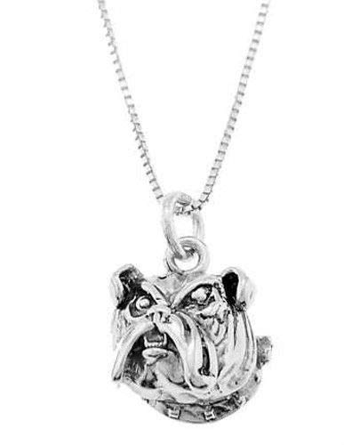 Charm - Sterling Silver - Jewelry - Pendant - Bulldog Head with Necklace 16 -