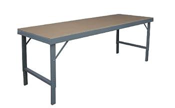 Durham 14 Gauge Steel Ergonomic Folding Leg Style Work Bench with Tempered Hard Board Over Steel Top, WBF-TH-3672-95