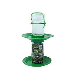 Amijivdaya 2 in 1 Double Decker Pack of Bird Food and Water Feeder (Transparent, Green)