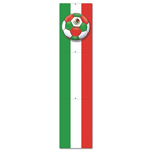 Club Pack of 12 Red, Green and White ''Mexico'' Soccer Themed Jointed Pull-Down Cutout Decorations 5' by Party Central