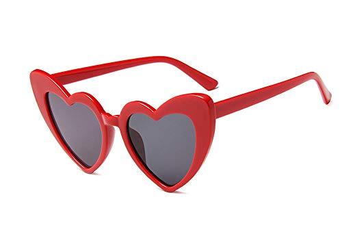 JUSLINK Heart Shaped Sunglasses for Women, Cat Eye Mod Style Retro Kurt Cobain Glasses(Red)