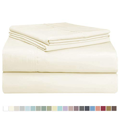 Cream Color Cotton - Pizuna 400 Thread Count Cotton Queen Size Cream Sheets Set, 100% Long Staple Cotton 4 PC Sheets, Sateen Cotton Bedding Set fit Upto 16 inch Deep Pockets (Ivory Queen 100 Percent Cotton Sheets)