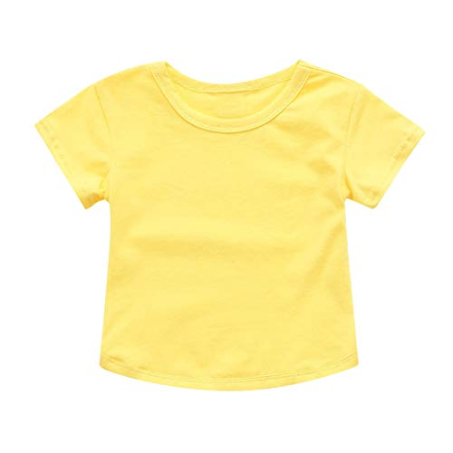 - ❤️ Mealeaf ❤️ Children Baby Kids Short Sleeve Solid Color T-Shirt Boys Girls Clothes (Yellow,80)