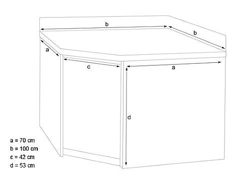 100 x 70 cm Arbeitsschrank Eckarbeitsschrank mit Flügeltüren und Aufkantung