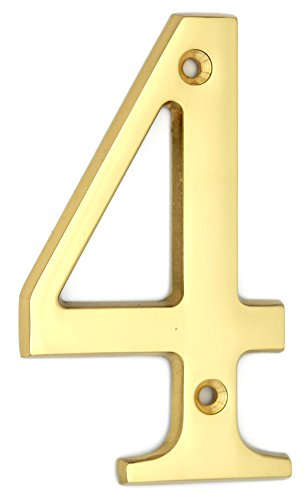 ZW Hardware A100 4 Inch Bright Brass House Number 4