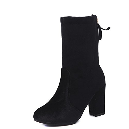 SOMESUN Buckle Flock Ankle Martin Boots Faux Women High Heels Solid Warm Ankle Martin Shoes Black LnQlN0oE5