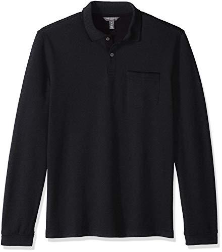 Long Sleeve Ribbed Rugby - Van Heusen Men's Flex Long Sleeve Jaspe Solid Polo Shirt, Deep Blue Monday, XX-Large