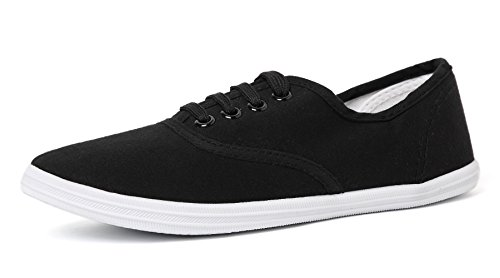 VenusCelia Women's Rainbow Canvas Sneaker (8 M US, Black)