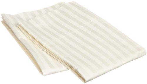 Egyptian Striped Pillowcase - 100% Egyptian Cotton 650 Thread Count Standard 2-Piece Pillowcase Set, Single Ply, Stripe, Ivory