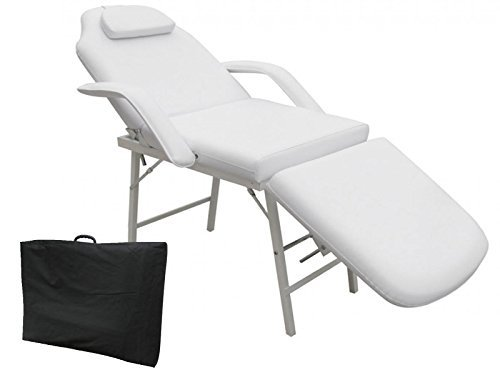 73″ Portable Tattoo Parlor Spa Salon Facial Bed Beauty Massage Table Chair White Thick cushioning for maximum comfort Heavy Duty Steel Frame