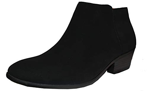 SODA Women's Western Ankle Bootie w Low Chunky Block Stacked Heel (11 B(M) US, Nubuk Black) - Low Heel Bootie