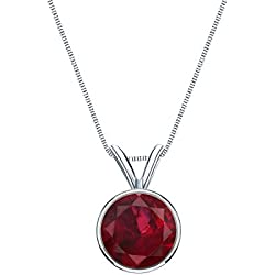 14k Gold Bezel-set Round-cut Ruby Gemstone Solitaire Pendant 1/4 cttw.