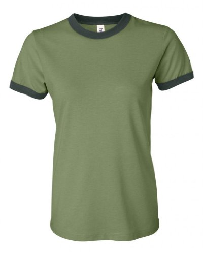 (Bella Ladies Cotton/Poly Blended Heather Ringer Tee, Small, Heather Green/Forest)