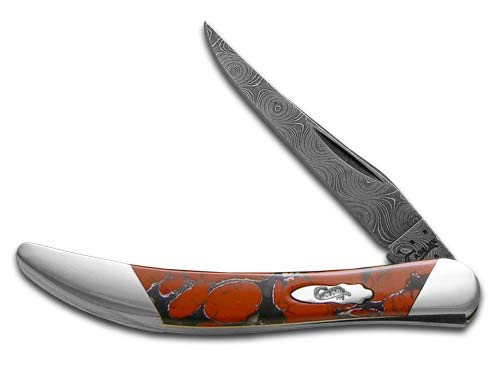CASE XX Painted Pony Damascus Red Matrix Stone Toothpick 1/200 Pocket Knife Knives