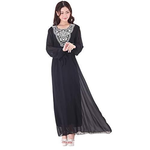 a8e70531a4 Bravetoshop Muslim Women's Party Long Maxi Dress Abaya Kaftan Jilbab  Islamic Cocktail Robe Ramadan(Black,L)