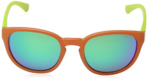 Police Lunette De Soleil S1937 Hot 2 Ovale, Orange & Lime Green Frame/blue/green Mirror Lens