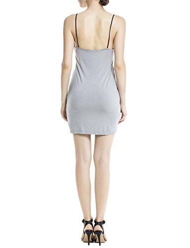 iB-iP Mujer Florista De Algodón Sin Costuras Underdresses Mini Camisón Largo Gris claro