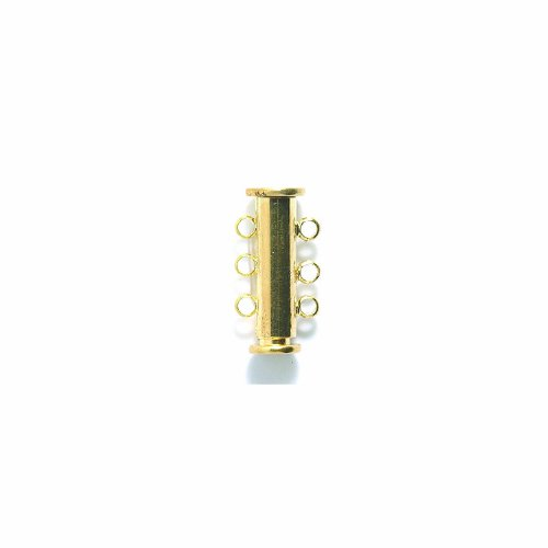 (Shipwreck Beads Electroplated Brass Slide Magnetic 3-Strand Clasps, 20 mm, Gold, Set of 3)