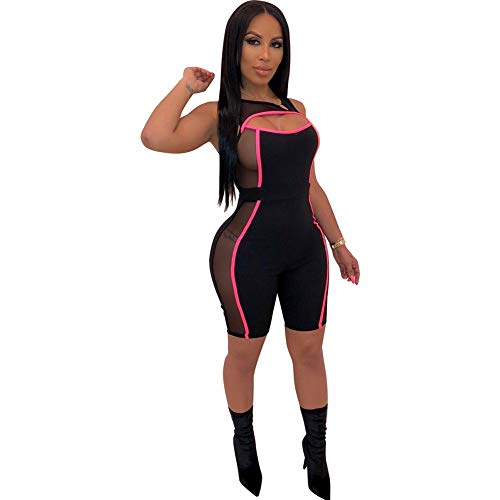 (Annystore Women Athletic Mesh Jumpsuit - Active See Through Stripe Splice Bodycon Club Tank Romper Rose Red S)