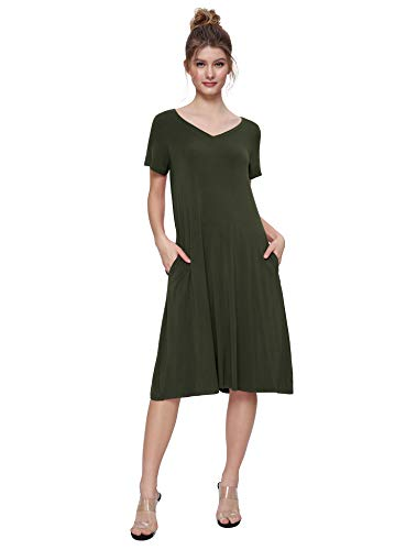 Weintee Women's T-Shirt Dress V-Neck Casual Dress with Pockets 2X Army Green Day Womens V-neck T-shirt