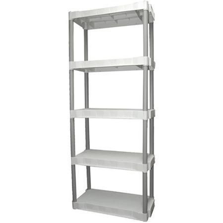 amazon com plano heavy duty plastic 5 shelf storage unit light rh amazon com