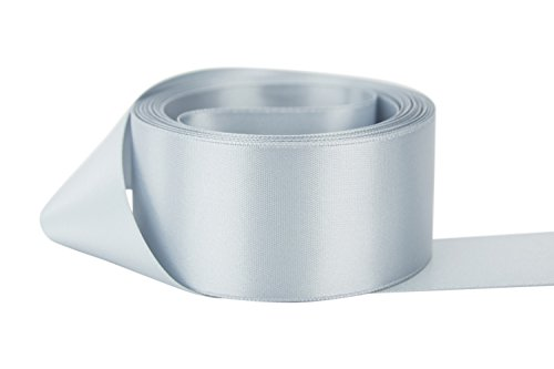 Silver Ribbon Polyester (Ribbon Bazaar Double Faced Satin 3 inch Silver The Yard 100% Polyester Ribbon)