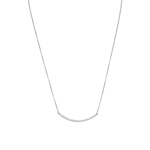 - 18 Inch + 2 Inch Extention Rhod. P. Sterling Silver Necklace 36mm Curved CZ Bar Lob-clasp Closure