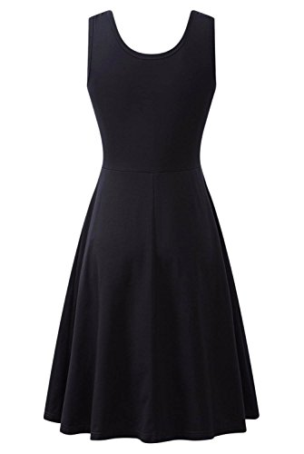 Dress Women Tank Summer Amstt Black Dresses Casual Beach Flared Sleeveless A Line Midi xITtxwqf