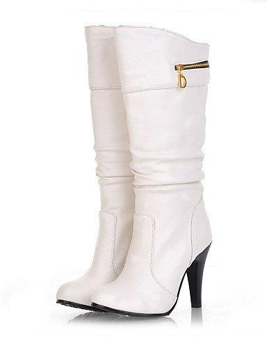 XZZ  Damenschuhe - Stiefel - Kleid - Kunstleder - Stöckelabsatz - Rundeschuh   Modische Stiefel - Schwarz   Braun   Weiß B01L1GMCWU Sport- & Outdoorschuhe Hervorragende Funktion