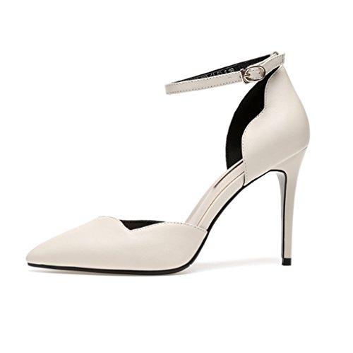 à Cuir Véritable HJHY® Bout Talons Printemps Hauts à Sandales Pointu Taille pour Beige et Confortable Chaussures en Femme Beige LGLFRXZ Couleur et Été 36 PYx0dd7
