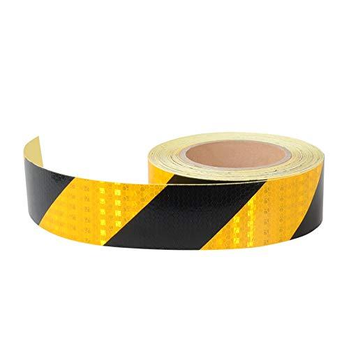 Onerbuy Waterproof Reflective Safety Hazard Caution Tape Yellow Black Striped Floor Marking Tape Self-Adhesive Warning Sticker, 2 Inch x 30 Feet ()