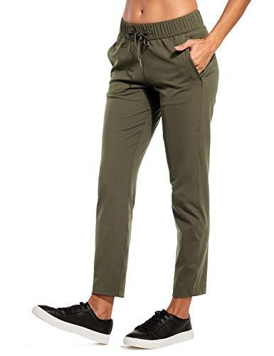 Sport Cargo - CRZ YOGA Women's Stretch Sports Pants Drawstring Trackpants Outdoor Cargo 7/8 Pants with Pockets Olive Green XL(14)