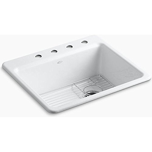 KOHLER K-5872-4A1-0 Riverby Single Bowl Top-Mount Kitchen Sink with Four Holes and Bottom Basin Rack, (Basin White Single Hole)