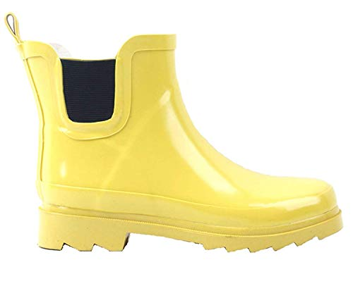 - BS Women's Rain Boots Short Ankle Rubber Garden Fashion Snow Shoes Multiple Styles Color (7 B(M) US, Yellow)