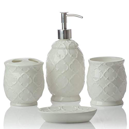 (Designer 4-Piece Ceramic Bath Accessory Set | Includes Liquid Soap or Lotion Dispenser w/Toothbrush Holder, Tumbler, Soap Dish | Moroccan Trellis | Contour White)
