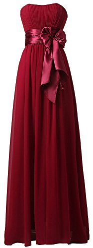 Chiffon Lang Burgundy Fanciest Brautjungfernkleides Damen Wedding Schulterfrei Party Dress gqSSaw68z
