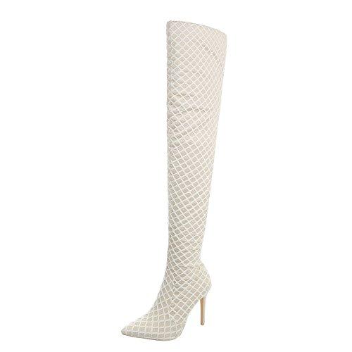 Ital-Design Overknees Damenschuhe Overknees Pfennig-/Stilettoabsatz High Heels Reißverschluss Stiefel Beige JR-017