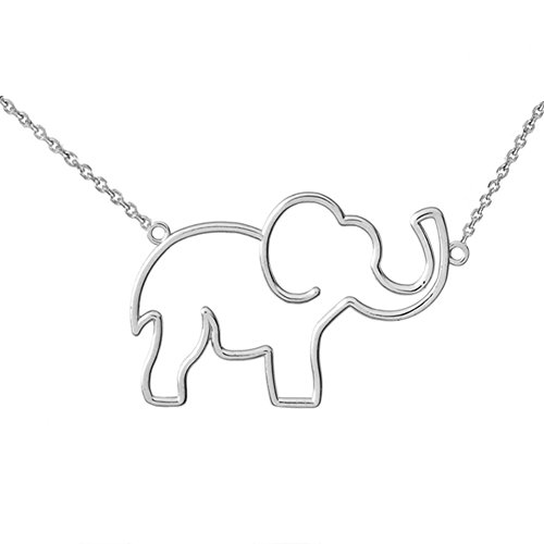 Exquisite Cut-Out Elephant Charm Pendant Necklace in Sterling Silver, 16