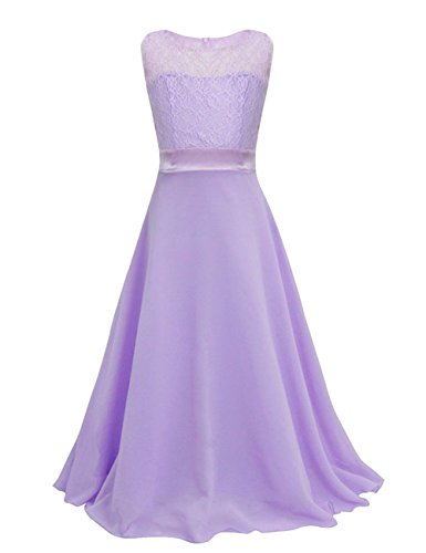Lilac Flower Girl Dress (Dasior Lovely Chiffon Long Scoop Flower Girls Dress with Bow 8)