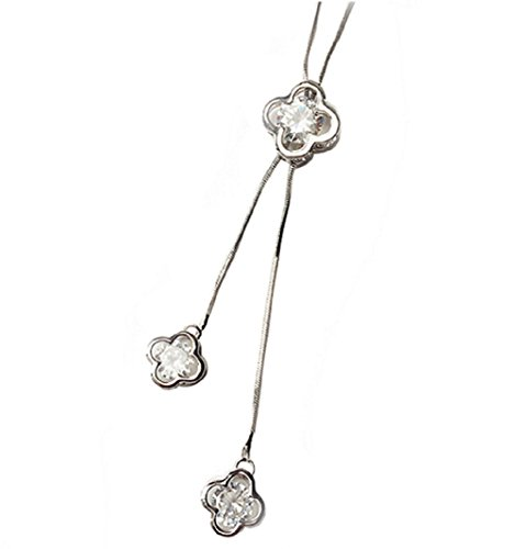 Hosaire Long Tassel Necklace Elegant Pendant Dress Chain With Crystal Clover Women's Jewelry Silver by Hosaire