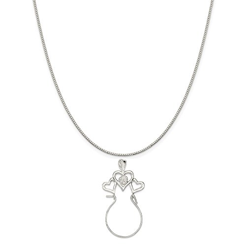 Sterling Silver Heart Charm Holder on a Sterling Silver Carded Box Chain Necklace, 18""
