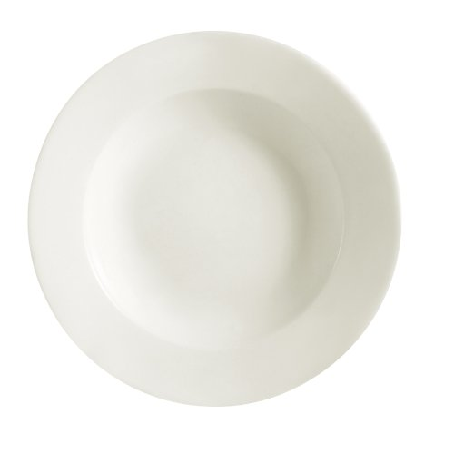 CAC China REC-110 Rolled Edge 11-Inch Stoneware Pasta Bowl, 18-Ounce, American White, Box of 12