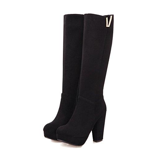 AdeeSu Womens Fashion Metal Buckles Platform Suede Boots SXC02079 Black 7J5FDRJKaf