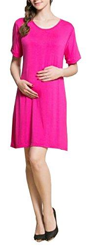 De Mujeres Embarazadas Dress Través Rodillera Corta Senora A Capa Mujer Lactancia Verano Vestidos Besthoo Para Color Rosy Manga Vestido Solido ZwqxPng4
