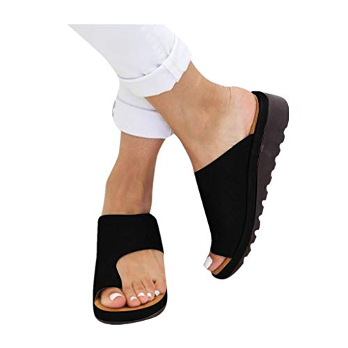 - 2019 New Women Comfy Platform Toe Ring Wedge Sandals Shoes Summer Beach Travel Shoes Comfortable Flip Flop Shoes