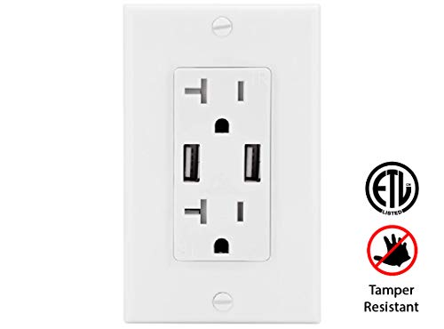 Teklectric - 4.2A Ultra High Speed Dual USB Charger Outlet - 20A Tamper Resistant Receptacle UL Approved - Wall Plate and Screws ()